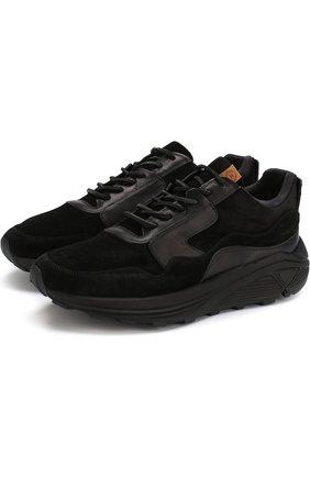Замшевые кроссовки на шнуровке Buttero черные | Фото №1