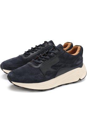 Замшевые кроссовки на шнуровке Buttero темно-синие | Фото №1