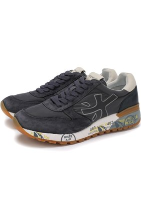 Комбинированные кроссовки на шнуровке Premiata серые | Фото №1