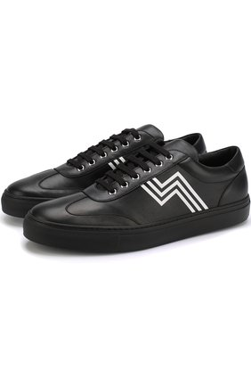 Мужские кожаные кеды на шнуровке RALPH LAUREN черного цвета, арт. 815690873 | Фото 1