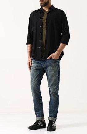 Мужские кожаные кеды на шнуровке RALPH LAUREN черного цвета, арт. 815690873 | Фото 2