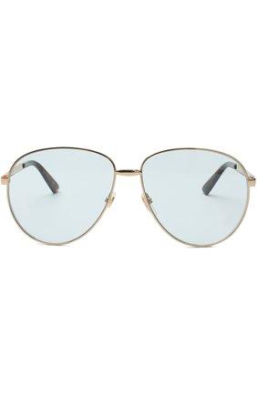 Женские солнцезащитные очки GUCCI золотого цвета, арт. GG0138 004 | Фото 2