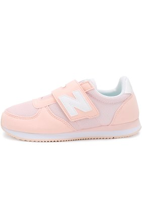 Детские замшевые кроссовки 220 с текстильной вставкой и застежкой велькро New Balance розового цвета | Фото №1