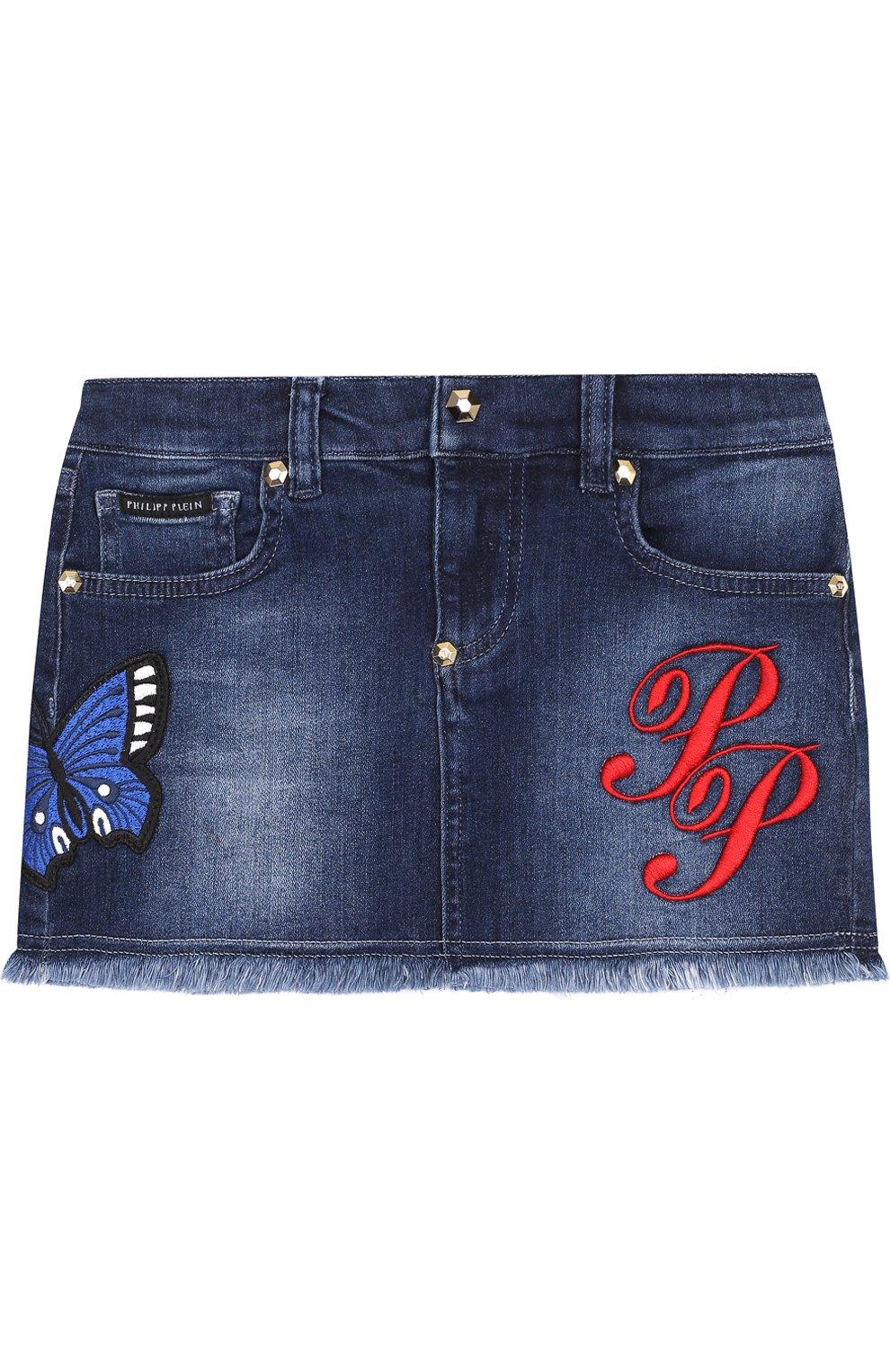 Джинсовая мини-юбка с вышивкой и бахромой   Фото №1