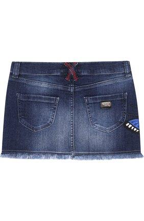 Джинсовая мини-юбка с вышивкой и бахромой   Фото №2