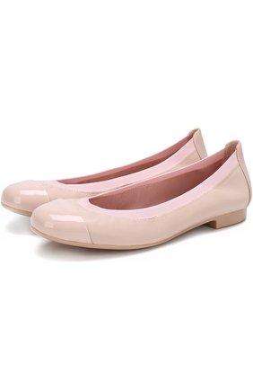 Детские кожаные балетки с лаковым мысом Pretty Ballerinas розового цвета   Фото №1