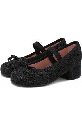 Детские текстильные туфли с бантами и перемычкой Pretty Ballerinas черного цвета   Фото №1