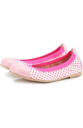Детские кожаные балетки в горох с лаковым мысом Pretty Ballerinas розового цвета   Фото №1