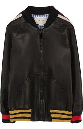 Кожаная куртка-бомбер с контрастной отделкой | Фото №1