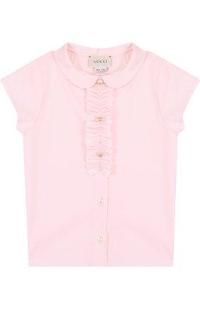 Хлопковая блуза с оборкой и коротким рукавом | Фото №1