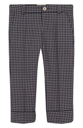 Шерстяные брюки в клетку с отворотами | Фото №1