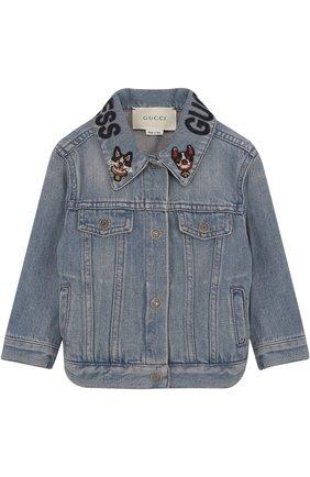 Джинсовая куртка с аппликациями на воротнике | Фото №1