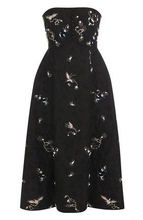 Приталенное платье-бюстье с контрастной отделкой | Фото №1