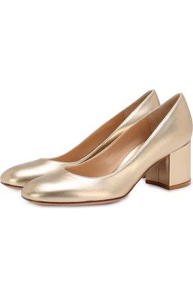Туфли Gilda из металлизированной кожи на устойчивом каблуке | Фото №1