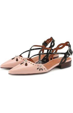 Лаковые туфли с заклепками на устойчивом каблуке | Фото №1