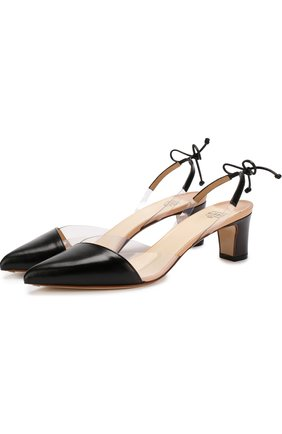 Кожаные туфли на устойчивом каблуке Francesco Russo черные | Фото №1