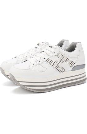 Кожаные кроссовки с кристаллами на платформе | Фото №1