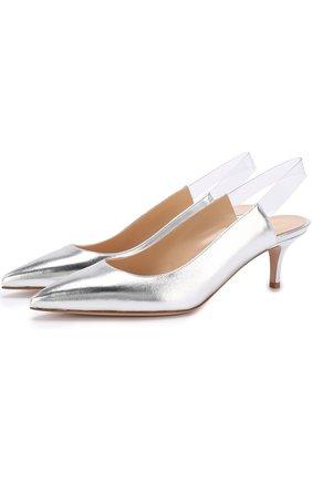 Туфли Eva из металлизированной кожи на каблуке kitten heel | Фото №1