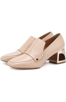 Кожаные туфли на фигурном каблуке | Фото №1