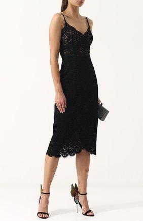 Замшевые босоножки Evangeline с аппликацией на шпильке Sophia Webster черные | Фото №1