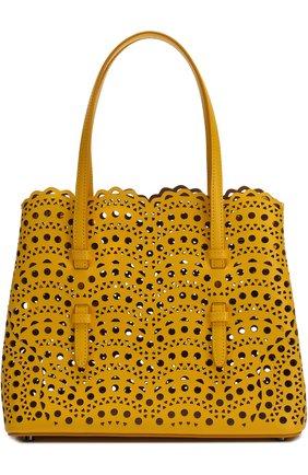 Сумка из кожи с перфорацией Alaia желтая цвета | Фото №1