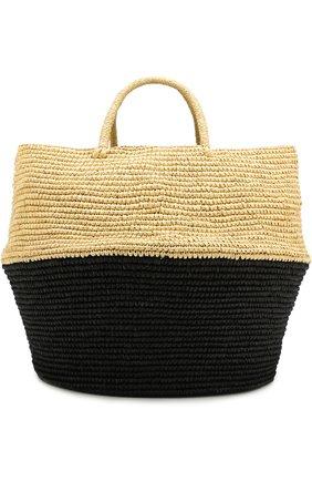 Сумка пляжная из соломки Artesano черного цвета | Фото №1
