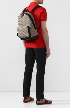 Мужской текстильный рюкзак gg supreme GUCCI бежевого цвета, арт. 406370/KLQAX | Фото 2