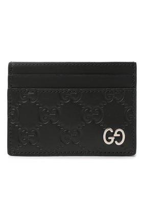 Мужской кожаный футляр для кредитных карт с тиснением signature  GUCCI черного цвета, арт. 473927/CWC1N | Фото 1