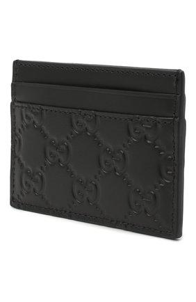 Мужской кожаный футляр для кредитных карт с тиснением signature  GUCCI черного цвета, арт. 473927/CWC1N | Фото 2