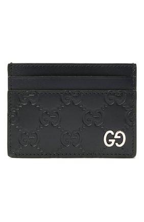 Мужской кожаный футляр для кредитных карт с тиснением signature  GUCCI темно-синего цвета, арт. 473927/CWC1N | Фото 1