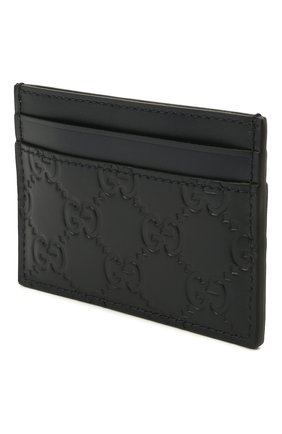 Мужской кожаный футляр для кредитных карт с тиснением signature  GUCCI темно-синего цвета, арт. 473927/CWC1N | Фото 2
