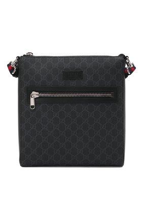 Мужская сумка-планшет gg supreme GUCCI черного цвета, арт. 474137/K5RLN   Фото 1