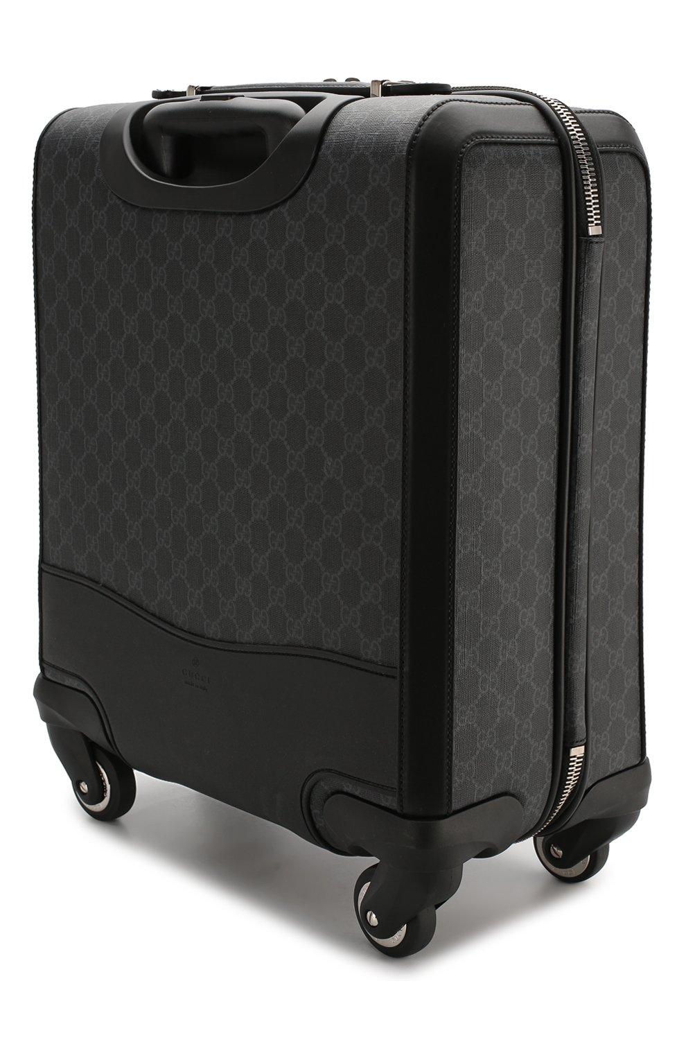 2660c7a4c9f0 мужской черный дорожный чемодан Gg Supreme на колесиках Gucci
