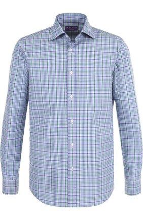 Мужская хлопковая рубашка в клетку RALPH LAUREN голубого цвета, арт. 790691201 | Фото 1