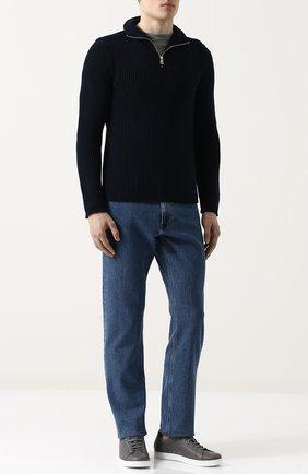 Мужские кожаные кеды david на шнуровке GIANVITO ROSSI серого цвета, арт. S20266.M1WHT.CLNGRBI | Фото 2