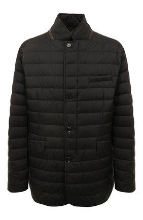 Утепленная стеганая куртка на молнии с отложным воротником Moorer черная | Фото №1