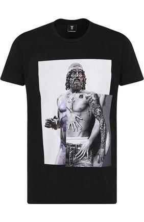 Хлопковая футболка с принтом Diego Venturino черная   Фото №1