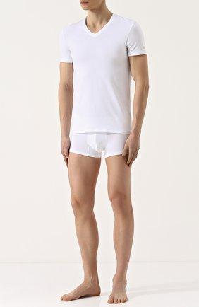 Мужские хлопковая футболка с v-образным вырезом ERMENEGILDO ZEGNA белого цвета, арт. N3M800300 | Фото 2