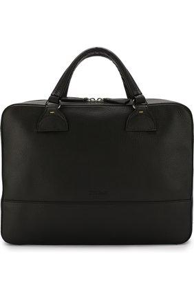 Кожаная сумка для ноутбука с плечевым ремнем Doucal's черная | Фото №1