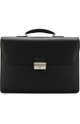 Кожаный портфель с плечевым ремнем Canali черный | Фото №1