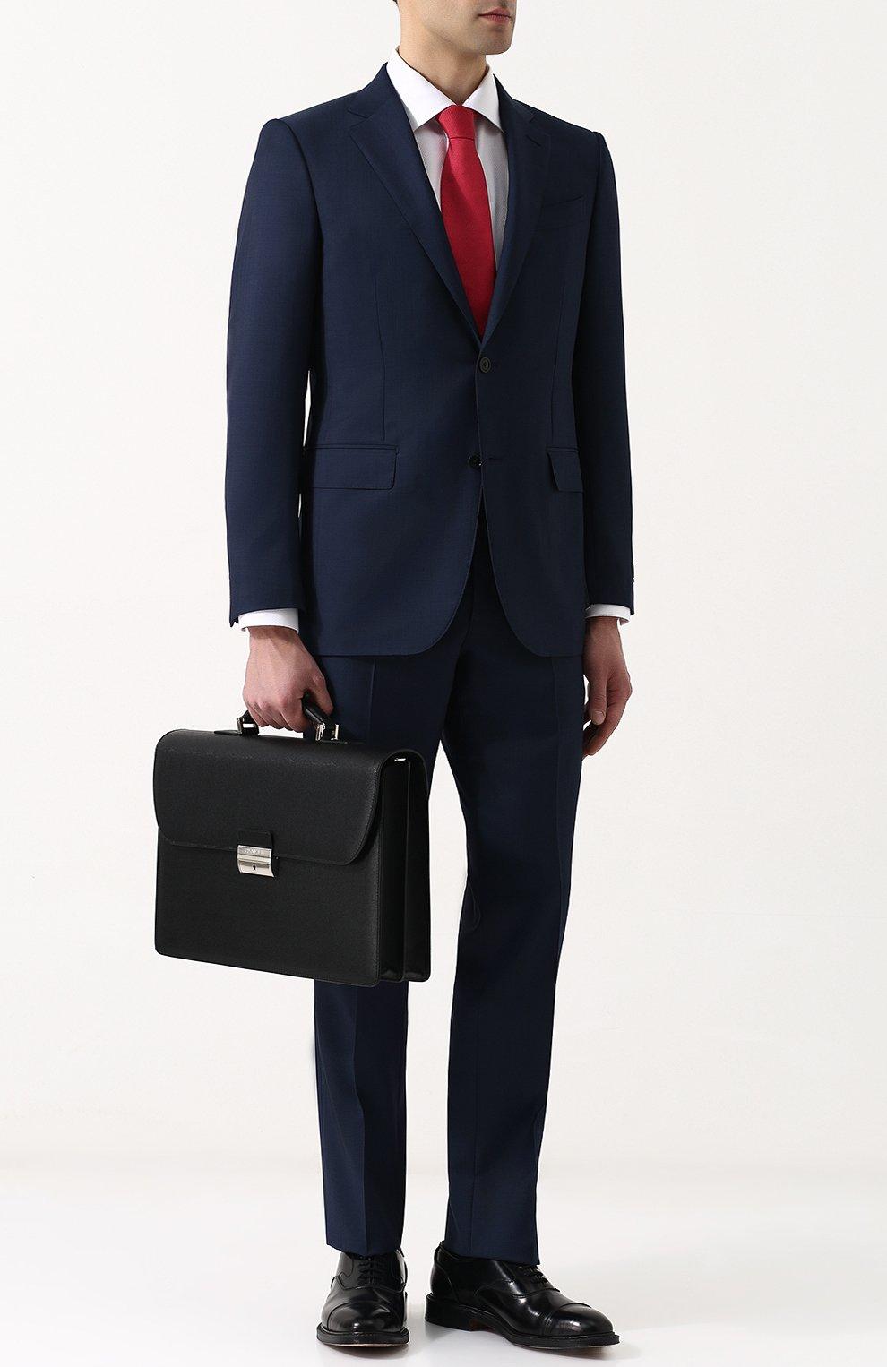 Кожаный портфель с плечевым ремнем Canali черный | Фото №2