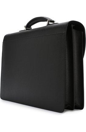 Кожаный портфель с плечевым ремнем Canali черный | Фото №3