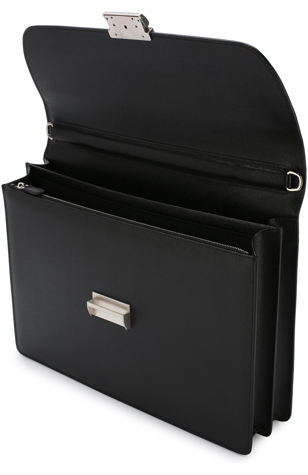 Кожаный портфель с плечевым ремнем Canali черный | Фото №4