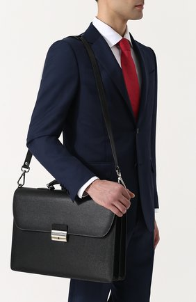 Кожаный портфель с плечевым ремнем Canali черный | Фото №5