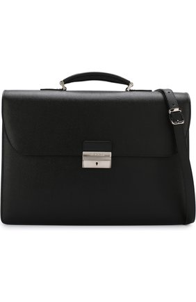Кожаный портфель с плечевым ремнем Canali черный | Фото №6