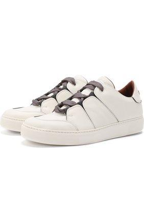 Кожаные кеды на шнуровке Zegna Couture белые | Фото №1