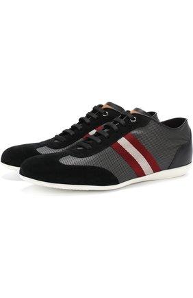 Комбинированные кроссовки на шнуровке с перфорацией Bally черные | Фото №1