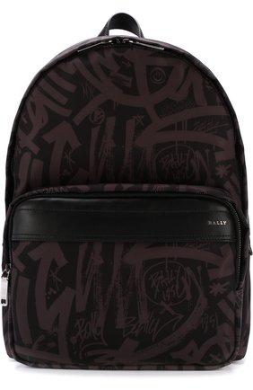 Текстильный рюкзак с кожаной отделкой Bally серый | Фото №1