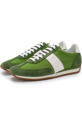 Мужские комбинированные кроссовки на шнуровке TOM FORD зеленого цвета, арт. J0948T-CYK | Фото 1