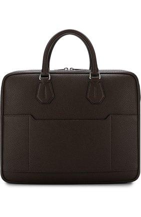 Кожаная сумка для ноутбука с плечевым ремнем Bally черная | Фото №1